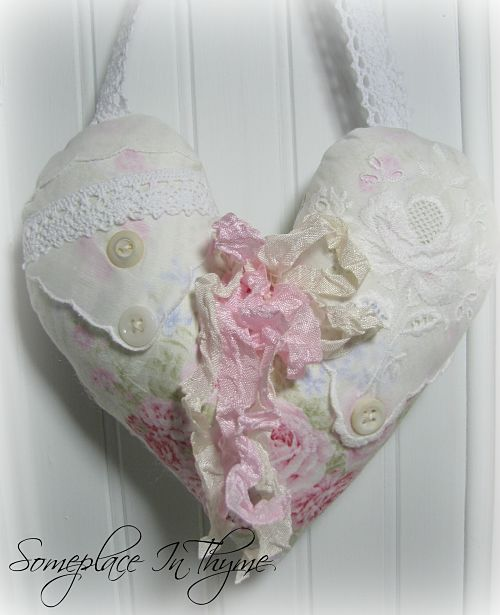Pastel Heart Sachet-sachet, pink, pastels, ribbons, hankie