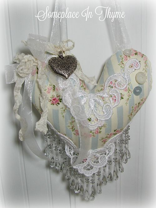 Hanging Sachet In Blue With Beadwork-sachet, heart sachet, heart, beads, ribbons, home decor, cottage decor, decoration, handmade home decor, handmade heart, handmade sachet, lace, ribbons, handmade gift,silvertone heart charm