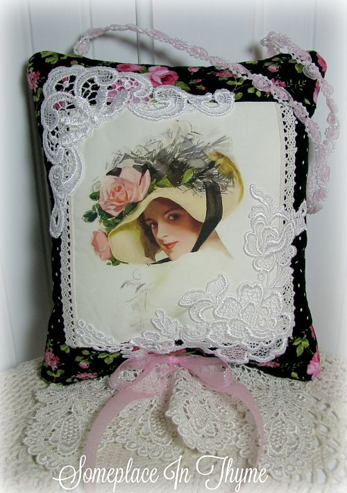 Handmade Sachet Home Decor Pillow Lace-handmade sachet, sachet, pillow, handmade pillow, black, pink roses, appliques, vintage lace, cording, ribbon, cotton fabric, home decor, decoration, cottage decor, shabby decor