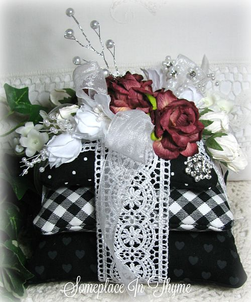 Three Sachet Pillows With Roses And Lavender Buds-pillow sachets, silk flowers, handmade pillow, handmade sachet, handmade gift, sachet, black and white, ribbons, roses, silks, lavender buds