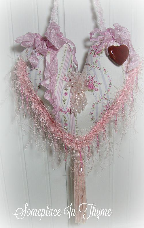 Heart Sachet Hanging Home Decor-sachet, handmade sachet, pink roses, pink beads, lavender buds, home decor, decoration, handmade gift, heart sachet, pottery heart,eyelash trim, ribbon