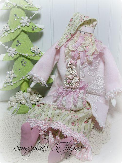 Shabby Cottage Cloth Santa With Tree-Santa, cloth Santa, Christmas gift, handmade Santa, holiday, pink, decoration, handmade, roses, fringe,