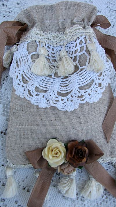 Vintage Crochet Work & Fringe Soap Pocket-soap,italian,roses,naturals,crochet,vintage,ribbon,shabby,fringe,chic,cottage,handmade,gift,Mothersday
