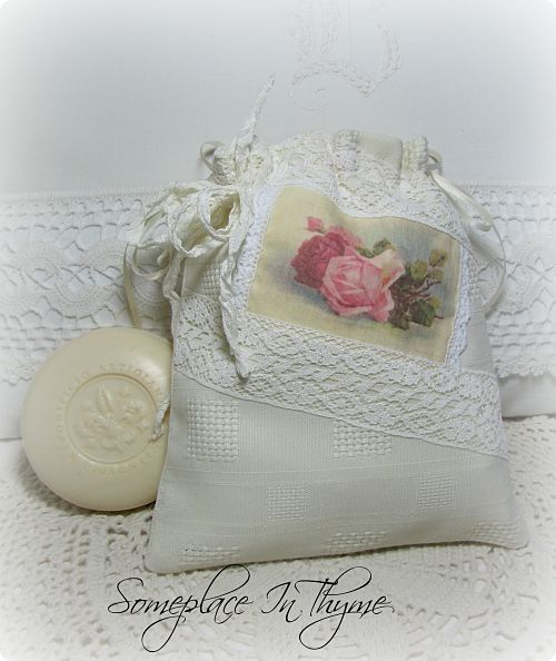 Soap In A Creamy White Sachet Bag-Sachet bag, cottage bag, soap, handmade, vintage lace, ribbons, roses, cottage bath, gift, shabby decor,