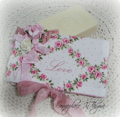 Pretty Soap Envelope-soap, handmade soap, cotton fabric, cottage decor, gift, roses, pink roses, shabby decor,