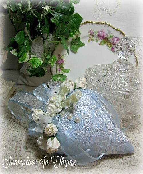Blue And White Strawberry Sachet-sachet, handmade sachet, cottage home, shabby home, roses, handmade roses, blue, white, roses, handmade gift, Mother's Day, ribbons,