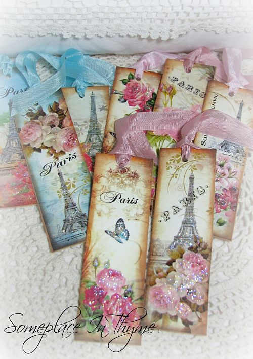 Paris Themed Bookmarks/Tags-paper, bookmarks, paper tags, gift tags, glitter