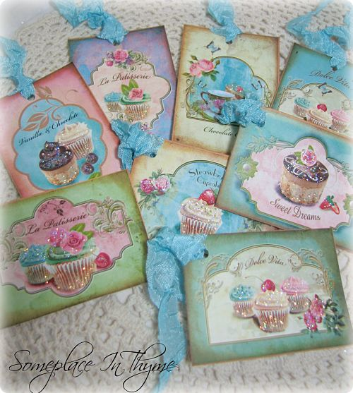 Set Of Eight Cupcake Gift Tags-gift tags, cupcakes, cupcake tags, handmade tags, glitter, ribbon, cottage,