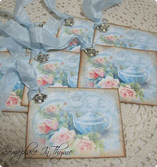 Set Of Eight Tea Time Tags-gift tags, tags, roses, blue, pink roses, ribbon, handmade, teapot, silvertone, paper