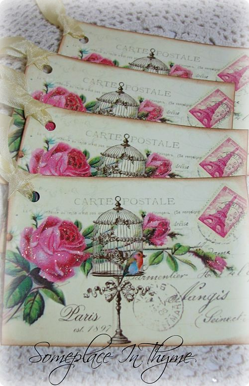 Paris Birdcage Gift Tags-gift tags, pink roses, roses, glitter, sparkle, extra large, card stock, paper