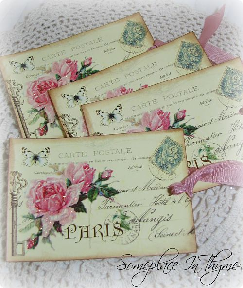 Paris Postcard Gift Tags-gift tags, Paris, glitter, shabby, chic, cottage, paper, handmade, ribbon, roses