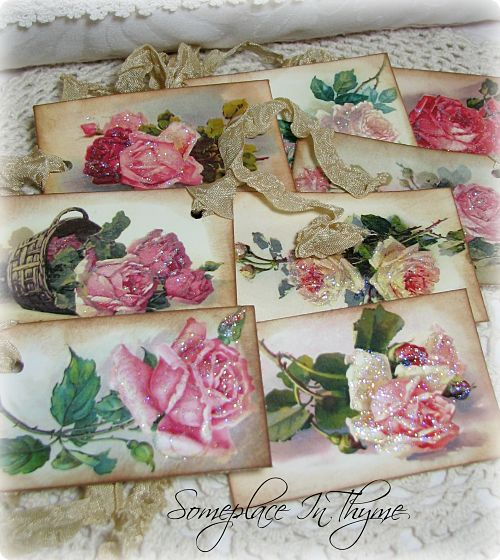 Gift Tags With Roses-roses, glitter, gift tags, handmade, ribbon, gift, decor,
