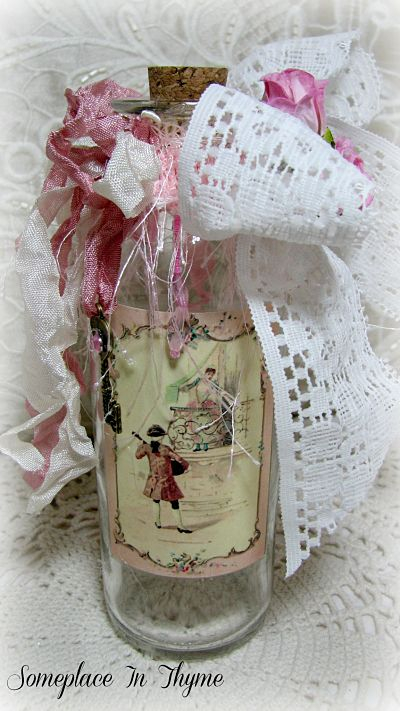 Key To My Heart Altered Bottle-Valentines Day, vanity bottle, romantic image, key charm, lace, ribbons, hanging beads, glass, handmade paper roses, cottage, roses,