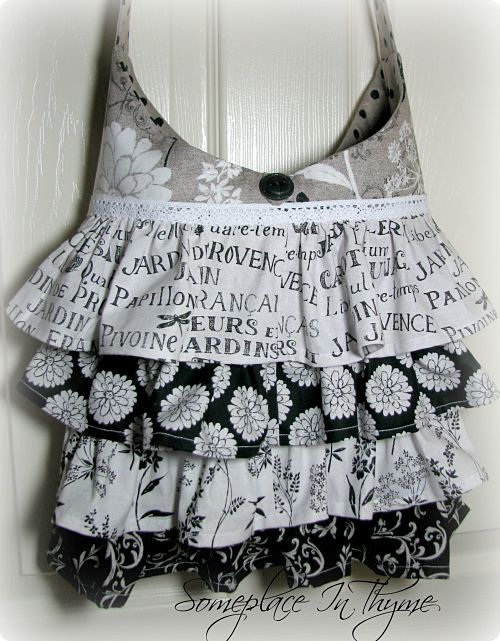 Shabby And A Bit French Tote With Ruffles-purse, tote, black and white, french style, roses, cotton fabric, fabric, handmade, lace