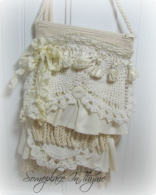 Petite Shabby Tote With Ruffles And Vintage Crochet Work-tote,purse,canvas,ruffles,cotton,shabby,fringe,handmade,zipper,cotton,tassels,crochet,gift,doily,cottage,chic