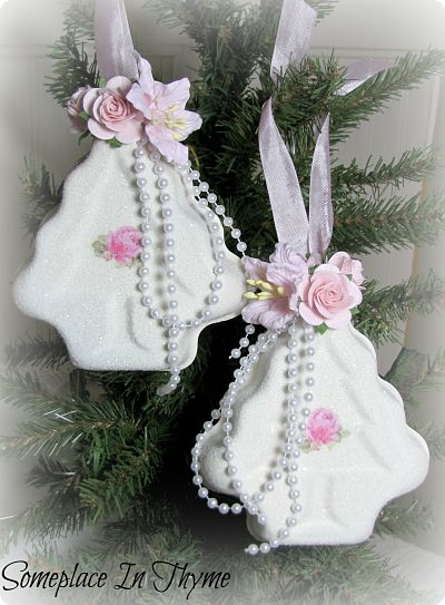 Set Of Vintage Jello Ornaments-jello,molds,tree,Christmas,holiday,decoration,ornaments,glitter,decal,rose,pink,white,shabby,gift,paper