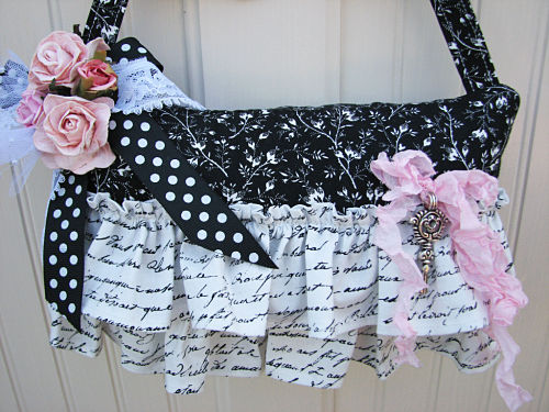 Shabby French Themed Hanging Pillow-pillow,black,white,roses,pink,shabby,cottage,petite,french,ruffes,handmade,gift,someplaceinthyme,ribbon,netting,chic,paper,pearls,