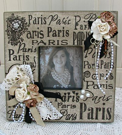 Shabby Paris Key To My Heart Frame-frame,photo,picture,roses,shabby,cottage,burlap,paris,handmade,pearls,ribbon,lace,vintage,key,rhinestone,charm,fabric,gift