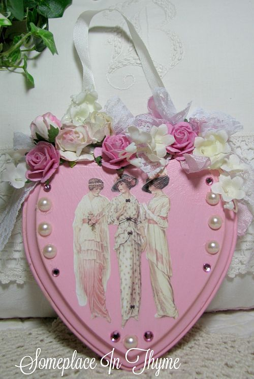 Pink Heart Plaque With Victorian Ladies-wooden plaque, wood sign, pink roses, roses, graphics, pearls, ribbons bling, cottage decor, decoration, handmade decoration, shabby decor, wood heart