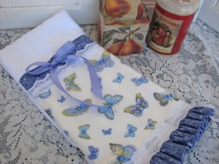 Pretty Towel With Butterflies And Eyelet Lace-towel,terrycloth,white,butterflies,ruffles,blue,satin,ribbon,lace,cottage,guest,bath,cottage,shabby,chic,romantic,madeintheusa,cloth